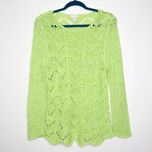 Chico's   Lime Green Chevron Crochet Sweater 2/L